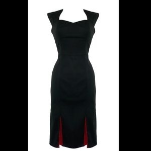 H&R London Black and red pleated wiggle dress